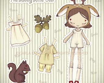 The Lovely Little Deer paper doll - made to order