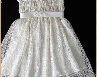 Ivory lace flower girl dress, Ivory lace dress, Ivory lace party dress for little girls, Ivory lace summer dress, Lace dress for girls