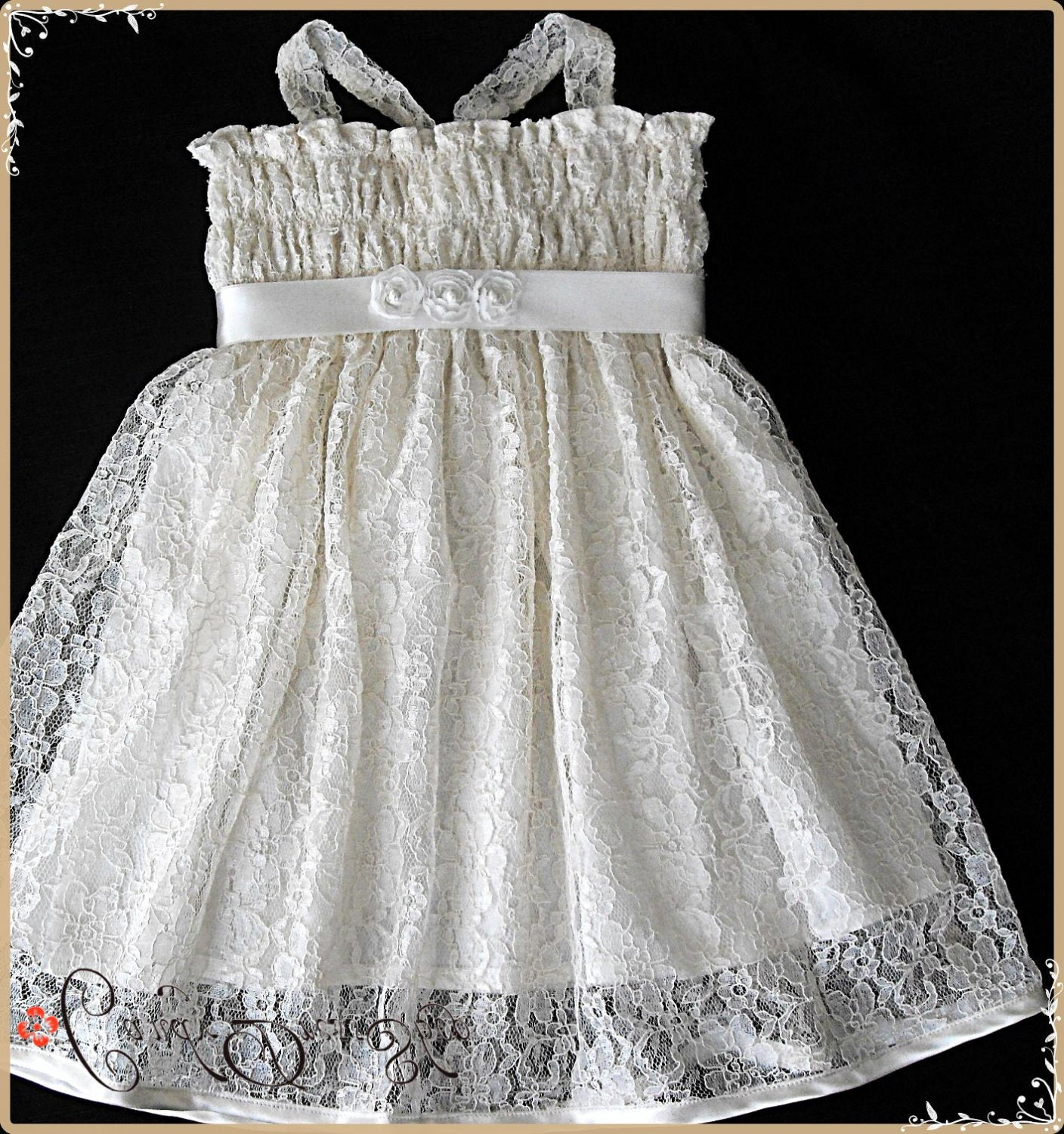 Ivory lace flower girl dress Ivory lace party dress for