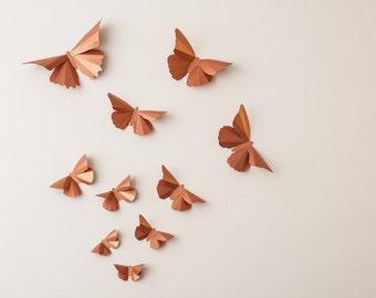 3D Butterfly Wall Art: Copper Metallic Silhouettes for Girls Room, Nursery, and Home Art Decor