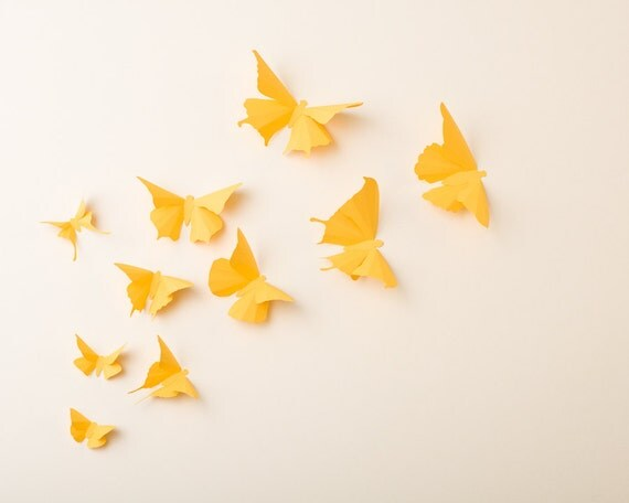 3D Wall Butterflies: Canary Yellow Butterfly Silhouettes for Girls Room, Nursery, and Home Art Decor
