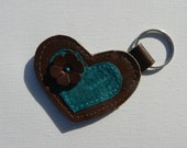 Leather and Button Keychain - Brown and Teal