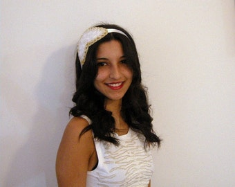 Bridal Hair Accesories,Pearl bridal side headband,white,yellow lame,ribbon roses processing,READY TO SHIP