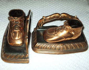 Bookends Copper Bronze Baby Shoes 1940's Vintage Pair Set Original BRON-SHOE Ohio SALE