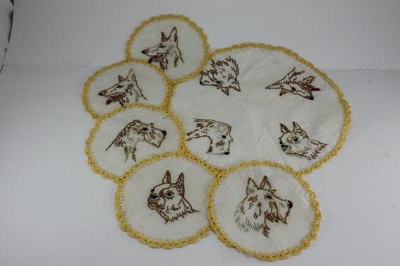 Vintage Hand Embroidered Dog Breeds Linen Set - 6 Pieces