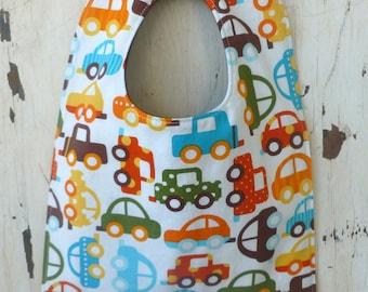 Baby Boy Bib - Eco Organic - Eco Friendly Baby Bib - Toddler Bib - Cars in White