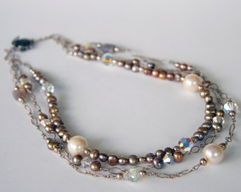 Three Strand Pearl, Crystal and Sterling Necklace