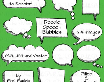Doodle Speech Bubbles Clipart Clip Art and Vectors, Hand Drawn Speech Bubbles Clipart Clip Art - Commercial and Personal Use