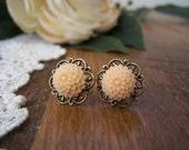 Petite Peach Pom Stud Earrings