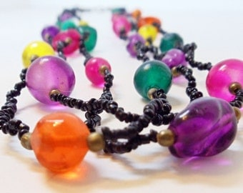 80s Colorful Glass Necklace- Multistrand- Vintage Jewelry