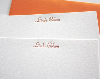 Personalized Letterpress Stationery Script Tangerine Orange