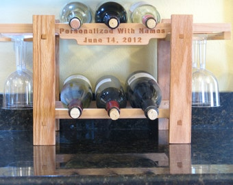 Personalized Counter Top Wine Rack, for wedding, anniversary or other event