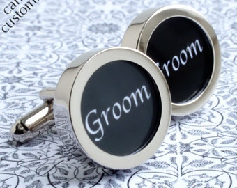 Groom Cufflinks for the Groomsman's Wedding Day, with Contemporary Lettering