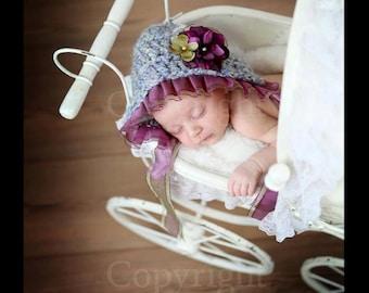Newborn Crochet Hat,  Baby Girl Hat Photo Prop, Crochet Baby Bonnet, Newborn Baby Girl Crochet Photo Prop