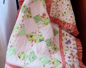 Baby Girl Quilt, Pink and Green, Ruffled, Hand Quilted