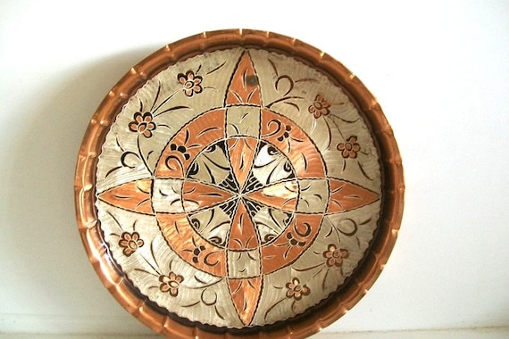Vintage Etched Copper Folk Art Wall Hanging By