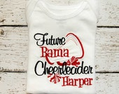 Embroidered Shirt or Body Suit with the saying Future Bama Cheerleader.