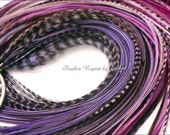 Long Purple Hair Feather Extensions Iris Hair Accessories for Women Boho Chic Fashion Purple Hair Extensions DIY Kit You Choose Length, 7