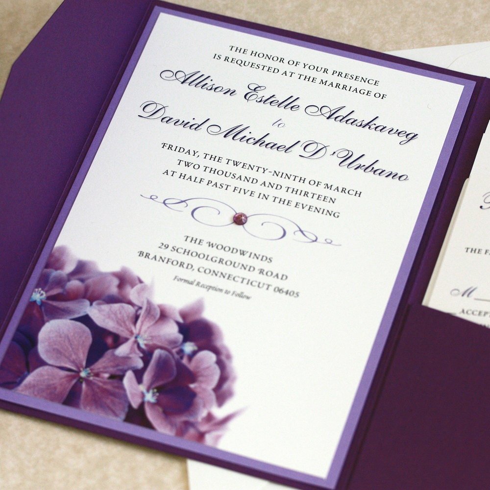 Samples Of Wedding Invites: Purple Hydrangea Wedding Invitation SAMPLE