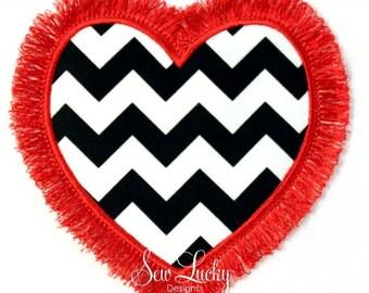 Fringe heart Applique Design - machine embroidery design- Many formats - INSTANT DOWNLOAD