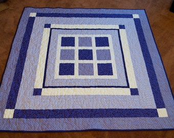 """Purple and White Quilt w/ Crosses 60"""""""