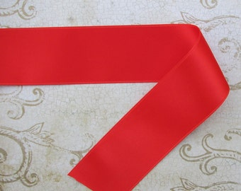 """Flame Red Swiss Satin Double Face Ribbon 1.5"""" wide 2 Yards"""