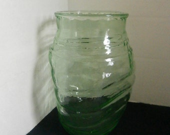 Pinched Green Glass Vase