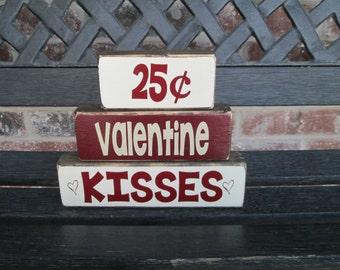 Valentine wood blocks- Chunky Stacker-Valentine Kisses 25 cents