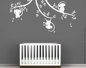 Monkey Tree Branches Wall Decal by LittleLion Studio - Monochromatic
