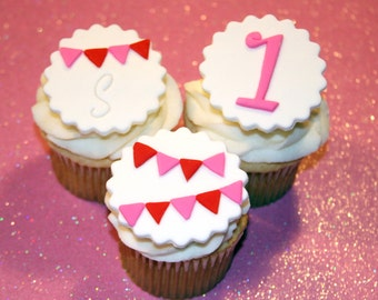 Fondant cupcake toppers Pennant Banner Bunting Birthday Age Initial