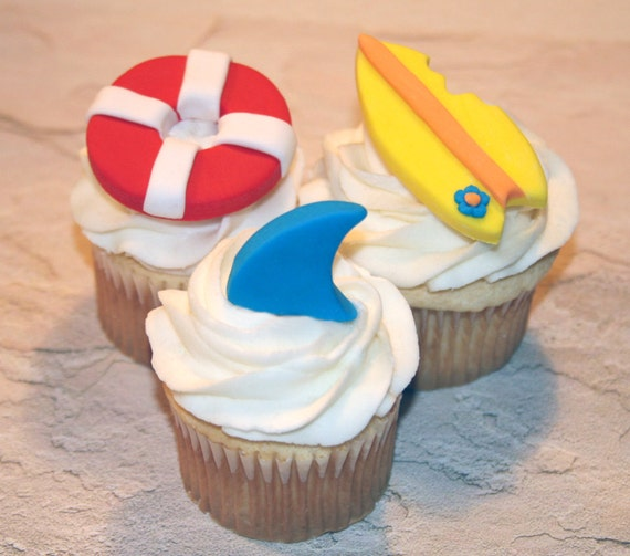Fondant Cupcake Toppers Shark Fin Beach Pool Party