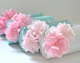 Set of 4-Small Bridesmaid clutches / Wedding clutches - CUSTOM COLOR