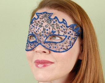 SHEER MASK- Azurite and Graphite Splash- masquerade mask, Mardi Gras, ballroom, fairy, Venetian, Halloween, tattoo