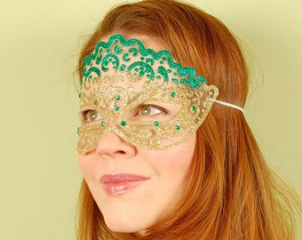 SHEER MASK- Emerald and Gold Irish Princess- masquerade mask, St. Patrick's, Mardi Gras, ballroom, fairy, Venetian, Halloween, tattoo