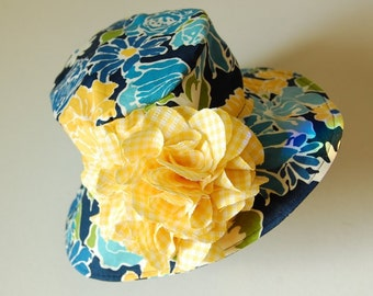 child's cotton hat- EVA- Navy Blossoms- size child's L