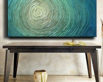 Big Ready Ship Abstract Painting 48 x 24 Custom Original Abstract Heavy Texture Blue Silver White Aqua Water Carved Oil Painting Je Hlobik
