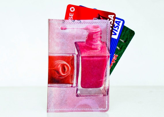 Nail Polish Wallet Recycled Paper with Dripping Nail Polish Bottles