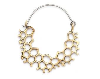 Mini Hex Brass - Hoop Earrings - Geometric  Jewelry - Hexagonal Earrings - Boho Jewelry