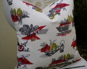 Vintage 1950s Cowboy Western Fabric Cushion Pillow
