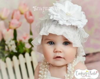 Lace hat, baby bonnet, petti lace hat, white bonnet, vintage inspired lace hat.