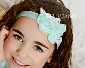 Baby Headband, Newborn Headband, Aqua Chiffon Headband, Baby Bows, Hairbows, flower headband, baby headbands, Vintage Headband