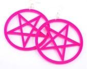 Large Pentagram Earrings. HOT PINK