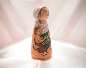 Saint Elizabeth holding John the Baptist - Catholic Saint Wooden Peg Doll Toy - made to order