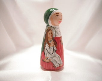 Saint Anne holding the Blessed Virgin - Catholic Saint Wooden Peg Doll Toy -  made to order