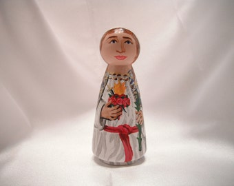 Sacred (Immaculate) Heart of Mary - Catholic Saint Wooden Peg Doll Toy- made to order