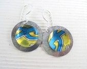 Blue and Gold Tin Disc Earrings- Recycled Olive Oil Can