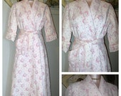 On SALE Vintage Quilted Robe 40s PiNK Claire's Dressing Gown