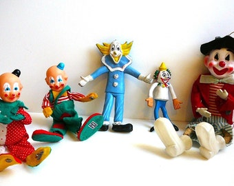 CLOWNS Vintage Collectible Clowns Lot of Toys