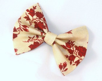 Hair Bow Vintage Inspired Red Flowers on Tan Hair Bow with Aligator Clip Rockabilly Pin up Teen Woman Alligator Clip, French Barrette