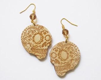 Wood Sugar Skull Dia de los Muertos Earrings